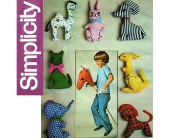 Simplicity 7744 Retro Stuffed Toys Vintage Sewing Pattern Cat Rabbit Dog Elephant Horse Camel Kangaroo & Hobby Horse