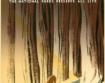 "National Park Poster, Vintage WPA Reproduction-''Wild Life"" National Park Service"
