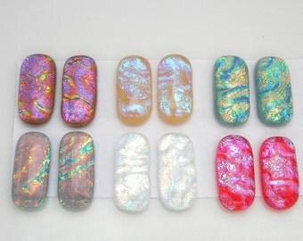 RIPPLE colorful for dangle earrings SET of 12 Dichroic fused glass cabs earrings bracelets pendant mosaics handmade SYD5