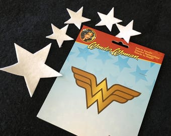 Wonder Woman Iron On Applique-Felt Iron On Stars-Super Hero Costume Appliques-Fabric Appliques-Halloween Costume Embellishments