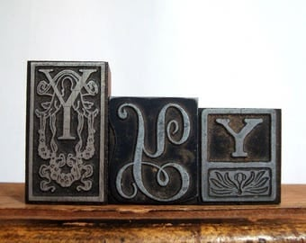 Letter Y Print Blocks 3 Wood Type Metal Face Vintage Letterpress Initial YYY
