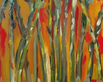 Asparagus oil painting vegetable 10x8 Art by Delilah