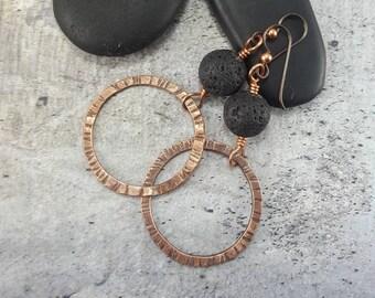 Essential Oil Diffuser Earrings, Gift for Girlfriend, Birthday gifts for her, Crunchy Mom Gift, Lava Stone Earrings, Copper Dangle Earrings.