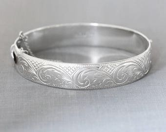 Vintage Sterling Silver Bangle, 1963 Birmingham Hallmarked Cuff Bracelet with Clasp - Silver Waves