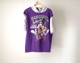 TAZ vintage hoodie 90s COLORADO ROCKIES vintage faded color block t-shirt