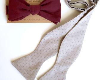 Burgundy bow tie, self tie bow tie, burgundy self tie bow tie, maroon bow tie, wine bowties, groomsmen bowties, bowties for men, wedding tie