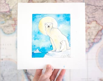 Polar Bear Mother and Cub - Original Painting Watercolor Illustration, Arctic Animal Art, Roam the Globe Series by Sarah-Lambert Cook