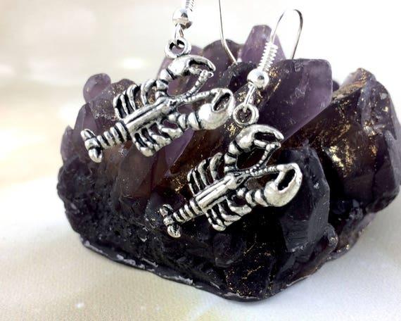 Sterling Silver Lobster Earrings J45