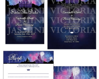 Disney World, Magic Kingdom Fireworks Wedding Invitation, Save The Date, RSVP, or Thank You