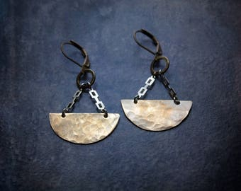 Hammered Brass Earrings Saddle Half Circle Boho Oxidized Silver Industrial Gypset Festival Jewelry Upcycled Repurposed Mixed Metal Edgy