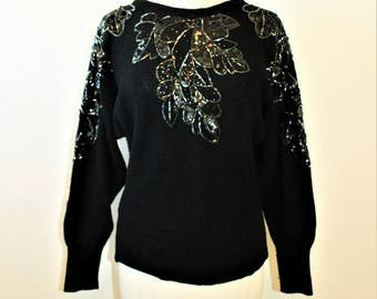 1980's Black Beaded Sequins Sweater Jumper Pullover Angel Bat Wing Sleeves Lambswool Small Medium Vintage Retro 80s  Holidays New Years