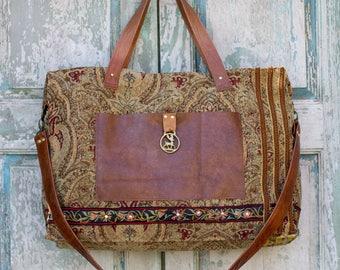 Handmade Carpet Bag, Carry On Bag, Weekender Bag, Diaper Bag, vintage Brown Leather, European Embroidery, Vintage Horse Bridle