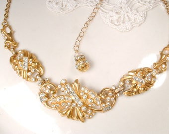 Vintage Gold Rhinestone Bridal Necklace, 22K Rose Gold Art Deco Clear Pave Paste Crystal Wedding Statement Necklace 1950's Bib Festoon