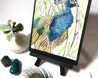 Peacock Decor Unique Art Gifts Peacock Collectible Original Painting OOAK Gifts Watercolor Peacock Art Bird Nerd  Gift Eco Friendly Gifts