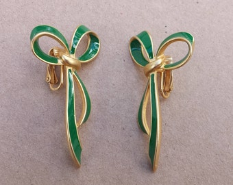 Gold Tone Enamel Green Bow Clip On Vintage Earrings Signed P.E.P., Christmas Jewelry, Holiday Earrings