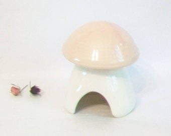 Pink Mushroom  - Toad House - Garden Decoration- Ready to Ship - Sturdy, Fired Ceramic, Wheel Thrown