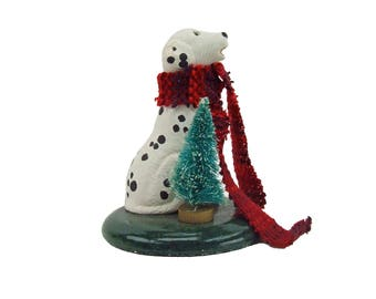 The Carolers Byers Choice Dalmatian Christmas Dog Figurine with Long Scarf and Bristle Brush Christmas Tree