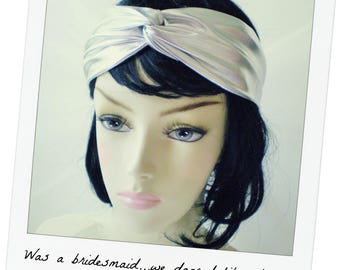 Silver Turban, Silver Turban Headband, Silver Headband, Silver Twist Headband, Silver Dressy Headband, Shiny Silver Headand