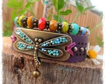 DRAGONFLY Cuff PURPLE leather BRACELET set Fairy jewelry colorful beaded wristband studded Bracelet Boho Chic Gypsy Festival jewelry GPyoga