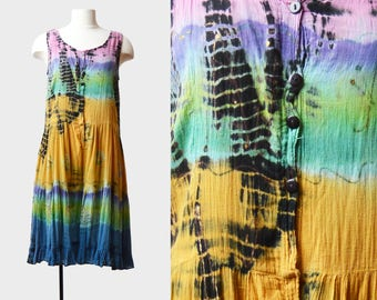 Vintage 90s Hippie Dress Tie Dye Mini Drop Waist Culottes / 1990s Rainbow India Gauze Psychedelic Sleeveless Button Down Minidress m