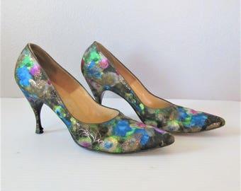 Vintage 1950's Stiletto Heels / Woman's Designer I MAGNIN Floral Pumps / Size 7 Ladies Gorgeous Formal Shoes