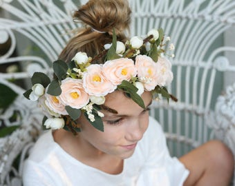 blush pink peach ivory cream boho flower crown halo adjustable toddler chilf adult