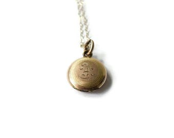 Small Antique Locket With Monogram A c.1900