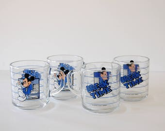Vintage Disney Glass Set - Set of Four Mickey Mouse Glass Mugs - Break Time Work Humor - Gift for Disney Fanatics - 1980s Walt Disney World
