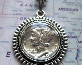 1941 Silver Mercury Dime 10c Coin Pendant Necklace
