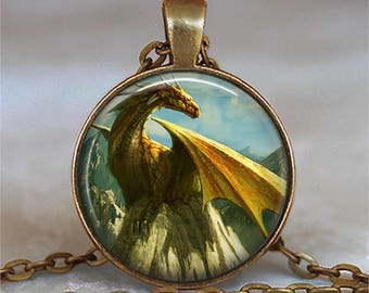 Golden Dragon necklace, Dragon jewelry dragon jewellery gold dragon pendant fantasy art jewelry key chain key ring key fob keyring