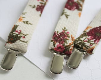 Floral Ivory Linen Suspenders