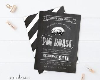 Pig Roast Party Invitation- Birthday / House Warming / Couples Shower / Hog Roast