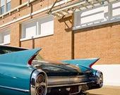 Mid Century Modern Car Photo, 1960 Cadillac, Mad Men, Retro Print, Cruisin the Coast, Blue Automotive Decor for Home, Office, Bachelor Pad