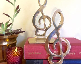 Vintage Brass Bookends, Treble Clef ,G Clef, Musical Note, Piano Player, Gift for Musician, Office Decor