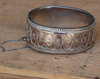 Antique Victorian sterling silver wide cuff bracelet with rose gold details