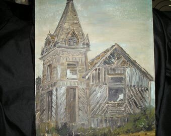 Vintage Awesome Old Dilapidated,Forgotten Ghost Town Formidable Eerie Holy Church.Oil on Canvas Outsider Art.