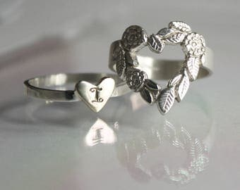 I HOLD your HEART forever - classic. Mom, daughter or Big, small sisters rings or pendants. Handmade unique jewelry. Sterling silver, brass.