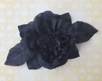 Pin up big sheer black rose with black leaves flower vintage rockabilly wedding 40s 50s gothic psychobilly