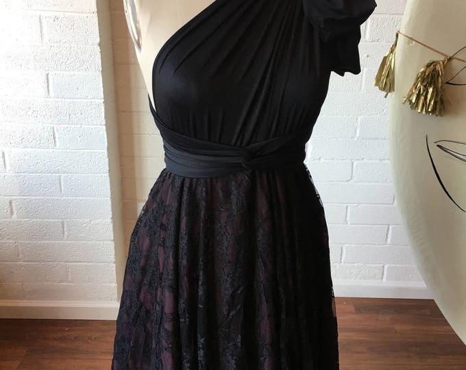 "Ready Made- 24"" Standard Black Lace Triple Layer skirt with Burgundy Chiffon~ Short Full Circle Infinity Wrap Dress~ Holiday Dress"