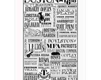 Boston, Massachusetts Framed Letterpress City Wall Art Print Poster Gift