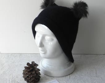 Felted hat, Black hat with ears, felt merino wool hat, coat ears hat, original winter hat, designer hat, Ready to send, GIFT idea for woman