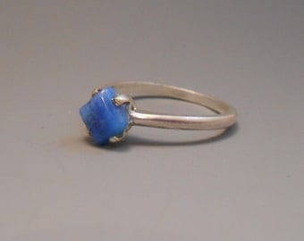 Agate Genuine Recycled Blue Turquoise Gemstone Sterling Silver Ring