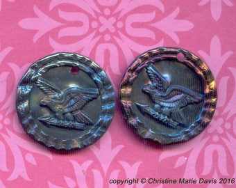 2 Hand-Smashed Button Charms... The EAGLE has landed... vintage metal buttons for charm bracelets or earrings -Handmade Bird Charm