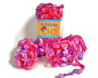 Pink Bulky Yarn Patons CiCi Pom Pom Ladder Purple Novelty Calypso 3.5 ounces, Small Yarn Lot