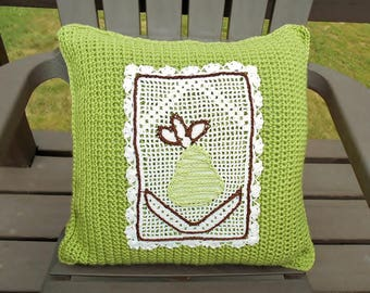 Crochet Green White Reversible Throw PILLOW COVER Embroidered Fruit Pear Design Unique Handmade Home Decor Couch Bed Den Office