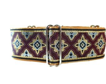 2 inch Martingale Collar, Burgundy Martingale Collar, Jacquard Dog Collar, Burgundy and Gold, Greyhound Collar, Burgundy Dog Collar