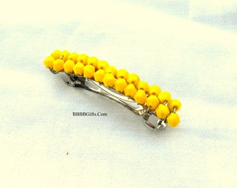 Yellow Crystal Beaded French Hair Clip Barrette USA