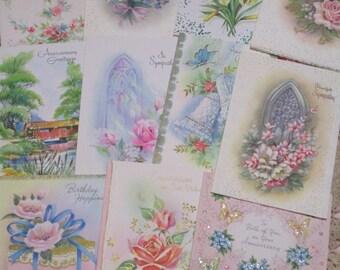 Vintage Greeting Cards Lot-Ephemera-Mixed Media-Paper-Crafts-Scrap Booking-Retro-1950's-UNUSED