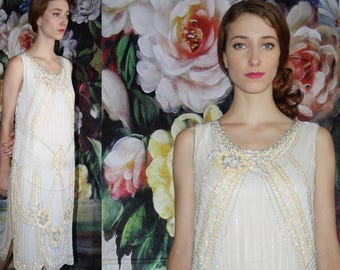 Vintage 1980s Does 1920s Ivory Beaded Sequin Wedding Gold Cocktail Party Art Deco Flapper Dress - 90s Clothing - WV0580