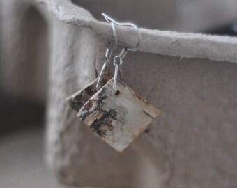 birch bark earrings • handmade wooden earrings •  white birch bark jewelry •  Birch bark Earrings & Necklace • Jewelry Set